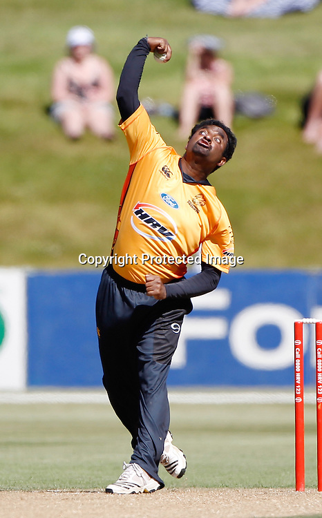 Firebirds Muttiah Muralidharan in action during the Twenty20 Cricket - HRV Cup, Otago Volts v Wellington Firebirds, Saturday 31 December 2011, Queenstown Events Centre, Queenstown, New Zealand. Photo: Michael Thomas/photosport.co.nz