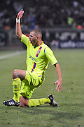 Lyon's Karim Benzema celebrates his goal during the UEFA Champions League soccer match, Olympique Lyonnais vs AFC Fiorentina at the Gerland stadium in Lyon, France on September 17, 2008. (2-2). Photo by Stephane Reix/Cameleon/ABACAPRESS.COM.