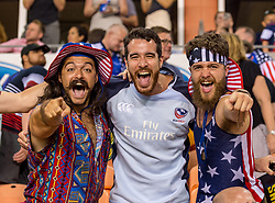 June 16, 2018 - Houston, Texas, US - Fans are excited with the USA win over Scotland during the Emirates Summer Series 2018 match between USA Men's Team vs Scotland Men's Team at BBVA Compass Stadium, Houston, Texas (Credit Image: © Maria Lysaker via ZUMA Wire)