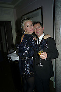 DAPHNE GUINNESS AND SHAUN LEANE,  Dinner hosted by Elizabeth Saltzman for Donatella Versace. Claridge's Hotel, Brook Street, Mayfair, London. 11 March 2008.  *** Local Caption *** -DO NOT ARCHIVE-© Copyright Photograph by Dafydd Jones. 248 Clapham Rd. London SW9 0PZ. Tel 0207 820 0771. www.dafjones.com.