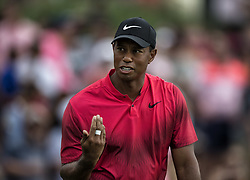 May 13, 2018 - Ponte Vedra Beach, FL, USA - The Players Championship 2018 at TPC Sawgrass..Tiger Woods hits into the water on #17 tee (Credit Image: © Bill Frakes via ZUMA Wire)