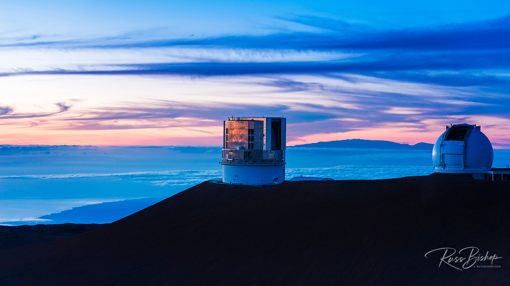 W. M. Keck Observatory and Haleakala Volcano on Maui from the summit on Mauna Kea, The Big Island, Hawaii USA