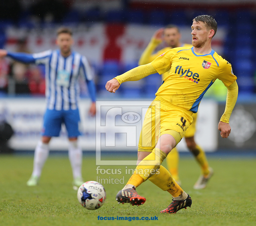 Scott Bennett of Exeter City during the Sky Bet League 2 match at Victoria Park, Hartlepool<br /> Picture by Simon Moore/Focus Images Ltd 07807 671782<br /> 25/04/2015