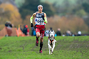 Female canicross competitor during the WSA Dryland World Championship 2019 at Firle Country Estate in the South Downs National Park, Lewes, Sussex, United Kingdom on 16 November 2019.
