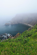 Rocky coastline in fog<br /> <br /> Grand Manan Island<br /> New Brunswick<br /> Canada