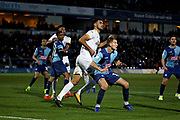 Peterborough United defender Ryan Tafazolli (5) in the box waiting for a cross during the EFL Sky Bet League 1 match between Wycombe Wanderers and Peterborough United at Adams Park, High Wycombe, England on 3 November 2018.