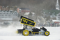 Mark Smart #44 tears around the track during the Modified race on Meredith Bay during the Nostalgic Latchkey Cup Sunday afternoon.  (Karen Bobotas/for the Laconia Daily Sun)