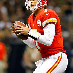 September 23, 2012; New Orleans, LA, USA; Kansas City Chiefs quarterback Matt Cassel (7) looks to pass against the New Orleans Saints during the first quarter of a game at the Mercedes-Benz Superdome. Mandatory Credit: Derick E. Hingle-US PRESSWIRE