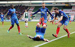 Jack Marriott of Peterborough United (floored) celebrates scoring his sides opening goal of the game as team-mates rush to join in the celebrations - Mandatory by-line: Joe Dent/JMP - 07/04/2018 - FOOTBALL - Home Park - Plymouth, England - Plymouth Argyle v Peterborough United - Sky Bet League One