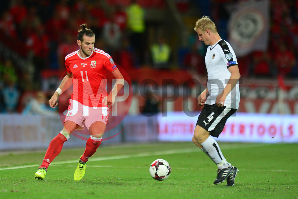 Gareth Bale of Wales is closed down by Martin Hinteregger of Austria - Mandatory by-line: Dougie Allward/JMP - 02/09/2017 - FOOTBALL - Cardiff City Stadium - Cardiff, Wales - Wales v Austria - FIFA World Cup Qualifier 2018