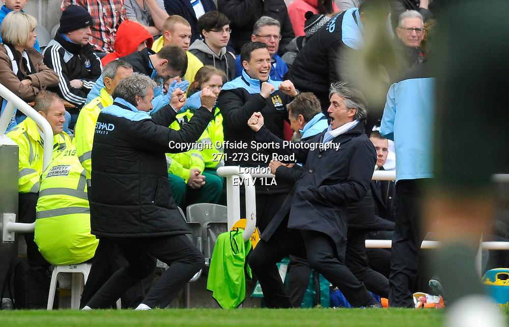 06/05/2012 - Barclays Premier League Football - 2011-2012 - Newcastle United v Manchester City - Roberto Mancini celebrates Yaya Toures second goal. - Photo: Charlie Crowhurst / Offside.