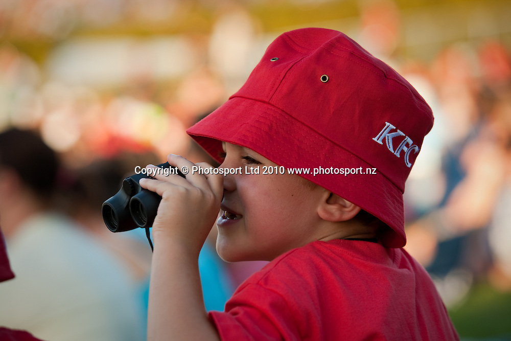 KFC hat worn by a young fan in the crowd with his binoculars during the National Bank Twenty20 Series cricket match between Bangladesh and New Zealand Blackcaps won by 10 wickets by the Blackcaps at Seddon Park, Hamilton, New Zealand, Wednesday 03 February 2010. Photo: Stephen Barker/PHOTOSPORT