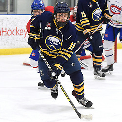TORONTO, ON  - JAN 7,  2018: Ontario Junior Hockey League game between the Toronto Jr. Canadiens and the Buffalo Jr. Sabres, Matthew Galli #18 of the Burlington Cougars pursues the play during the third period.<br /> (Photo by Andy Corneau / OJHL Images)