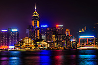 Convention & Exhibition Centre + Central Plaza Tower, Wan Chai (Night)