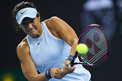 BEIJING, Oct. 6, 2017  Caroline Garcia of France hits a return during the women's singles quarter-final match against Elina Svitolina of Ukraine at the China Open tennis tournament in Beijing on Oct. 6, 2017.  dx) (Credit Image: © Ju Huanzong/Xinhua via ZUMA Wire)