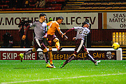 Motherwell FC Midfielder Marvin Johnson hits the shot to score Motherwells second goal during the Ladbrokes Scottish Premiership match between Motherwell and Heart of Midlothian at Fir Park, Motherwell, Scotland on 28 November 2015. Photo by Craig McAllister.