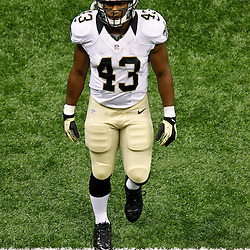 September 23, 2012; New Orleans, LA, USA;  New Orleans Saints running back Darren Sproles (43) prior to kickoff of a game against the Kansas City Chiefs at the Mercedes-Benz Superdome. Mandatory Credit: Derick E. Hingle-US PRESSWIRE