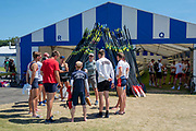 """Henley on Thames, United Kingdom, 2nd July 2018, Monday,   """"Henley Royal Regatta"""",  view, """"Brown University, USA"""", crew, with their coach, after their morning Training, session, on Henley Reach, River Thames, Thames Valley England, © Peter SPURRIER/Alamy Live News,/Alamy Live News,"""