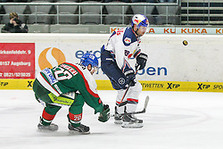 20.02.2015, Curt-Frenzel-Stadion, Augsburg, GER, DEL, Augsburger Panther vs EHC Red Bull München, 49. Runde, im Bild l-r: im Zweikampf, Aktion, mit Patrick Seifert #20 (Augsburger Panther) und Francois Methot #38 (EHC Red Bull Muenchen) // during Germans DEL Icehockey League 49th round match between Adler Mannheim and Grizzly Adams Wolfsburg at the Curt-Frenzel-Stadion in Augsburg, Germany on 2015/02/20. EXPA Pictures © 2015, PhotoCredit: EXPA/ Eibner-Pressefoto/ Kolbert<br /> <br /> *****ATTENTION - OUT of GER*****