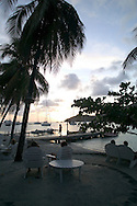 watching the sunset from the beach side bar at The Fragipani Hotel, Bequia 4/05