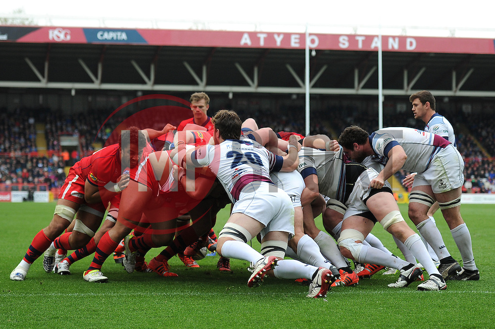 Bristol Rugby attempt to push back Rotherham Titans during a scrum - Photo mandatory by-line: Dougie Allward/JMP - Mobile: 07966 386802 - 02/05/2015 - SPORT - Rugby - Bristol - Ashton Gate - Bristol Rugby v Rotherham Titans - Greene King IPA Championship