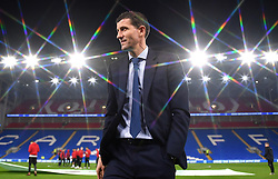 Watford manager Javi Gracia inspects the pitch before the game during the Premier League match at the Cardiff City Stadium.