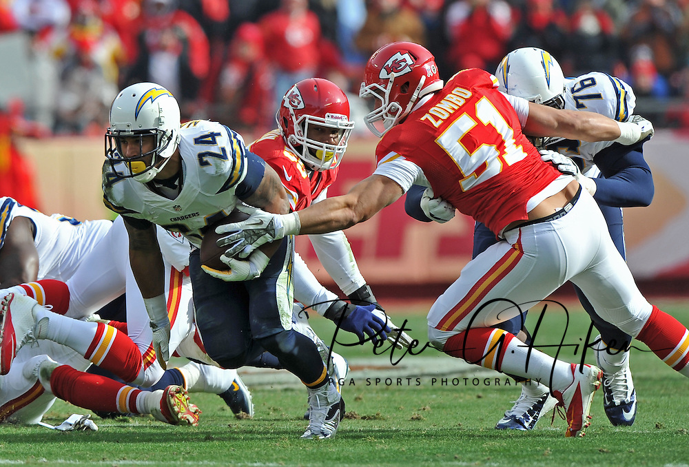 KANSAS CITY, MO - NOVEMBER 24:  Running back Ryan Mathews #24 of the San Diego Chargers rushes past linebacker Frank Zombo #51 of the Kansas City Chiefs during the first half on November 24, 2013 at Arrowhead Stadium in Kansas City, Missouri.  (Photo by Peter G. Aiken/Getty Images) *** Local Caption *** Ryan Mathews;Frank Zombo