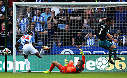 Fraser Forster of Southampton saves a close range effort from Steve Mounie of Huddersfield Town - Mandatory by-line: Matt McNulty/JMP - 26/08/2017 - FOOTBALL - The John Smith's Stadium - Huddersfield, England - Huddersfield Town v Southampton - Premier League
