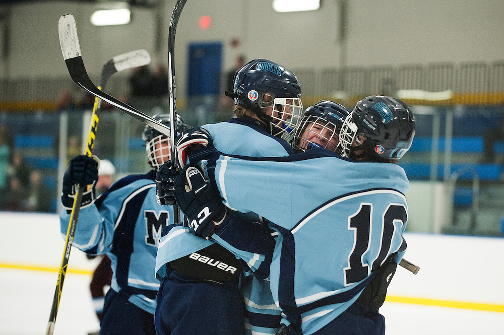 MMU celebrates a goal during the boys hockey game between North Country and Mount Mansfield at the Essex Skating Facility on Wednesday night January 6, 2016 in Essex. (BRIAN JENKINS/for the FREE PRESS)