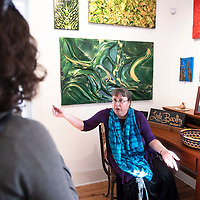 Kate Reña of Thoreau participates in an art activity led by Rose Eason at Free Spirit Gallery, Tuesday, May 28 during  her first visit to 2nd Look on 2nd Street.