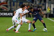 Hiroki Sakai and Florian Thauvin of Marseille and Neymar of PSG during the French Championship Ligue 1 football match between Olympique de Marseille and Paris Saint-Germain on October 22, 2017 at Orange Velodrome stadium in Marseille, France - Photo Philippe Laurenson / ProSportsImages / DPPI