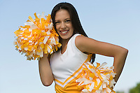Cheerleader Preparing for Cheer