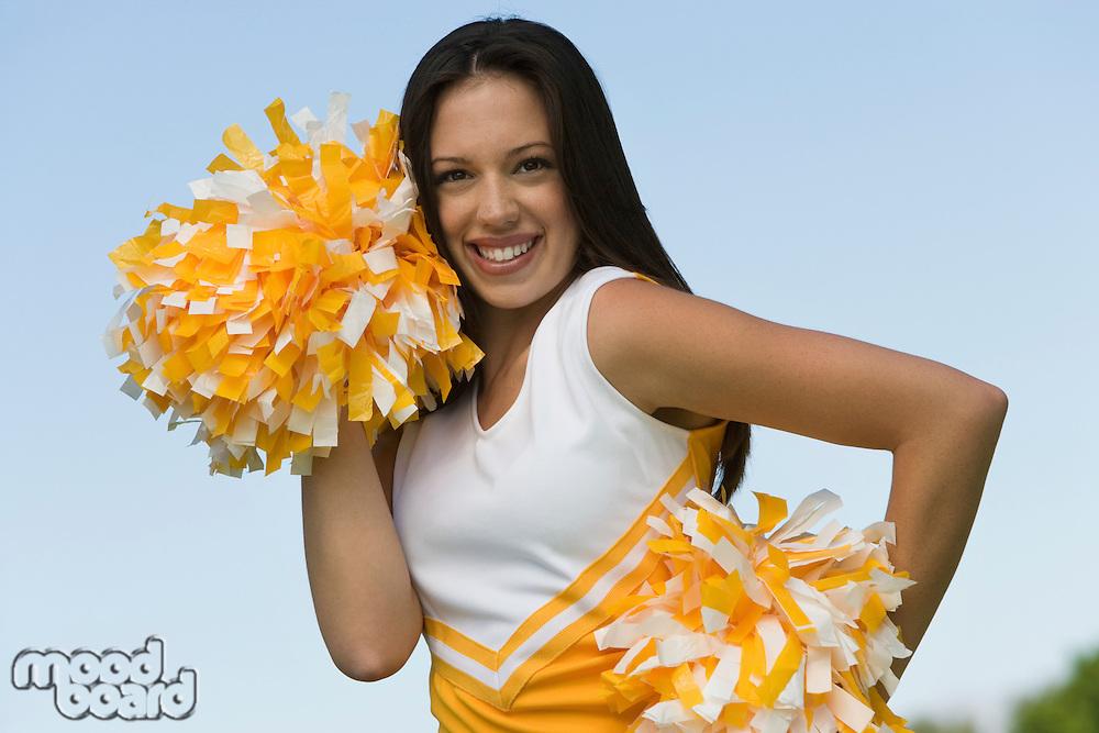 Cheerleader Preparing for Cheer