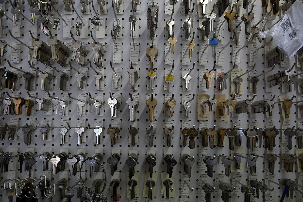 Large group of keys on display in store