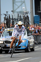 CYCLING - TOUR DE FRANCE 2010 - ROTTERDAM (NED) - 03/07/2010 - PHOTO : VINCENT CURUTCHET / DPPI - <br /> PROLOGUE - ROTTERDAM (NED) > ROTTERDAM (NED) - FABIAN CANCELLARA (SUI) / SAXO BANK / WINNER