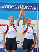 Varese,  ITALY. 2012 FISA European Championships, Lake Varese Regatta Course. ..GBR W2-  Bow Caragh MCMURTRY and Olivia CARNEGIE-BROWN Silver Medalist Women's Pair..11:15:05  Sunday  16/09/2012.....[Mandatory Credit Peter Spurrier:  Intersport Images]  ..2012 European Rowing Championships; .File name; Rowing, European,  2012 010894.jpg.....