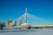 Winnipeg skyline and Esplanade Riel Bridge over the Red River<br /> Winnipeg<br /> Manitoba<br /> Canada