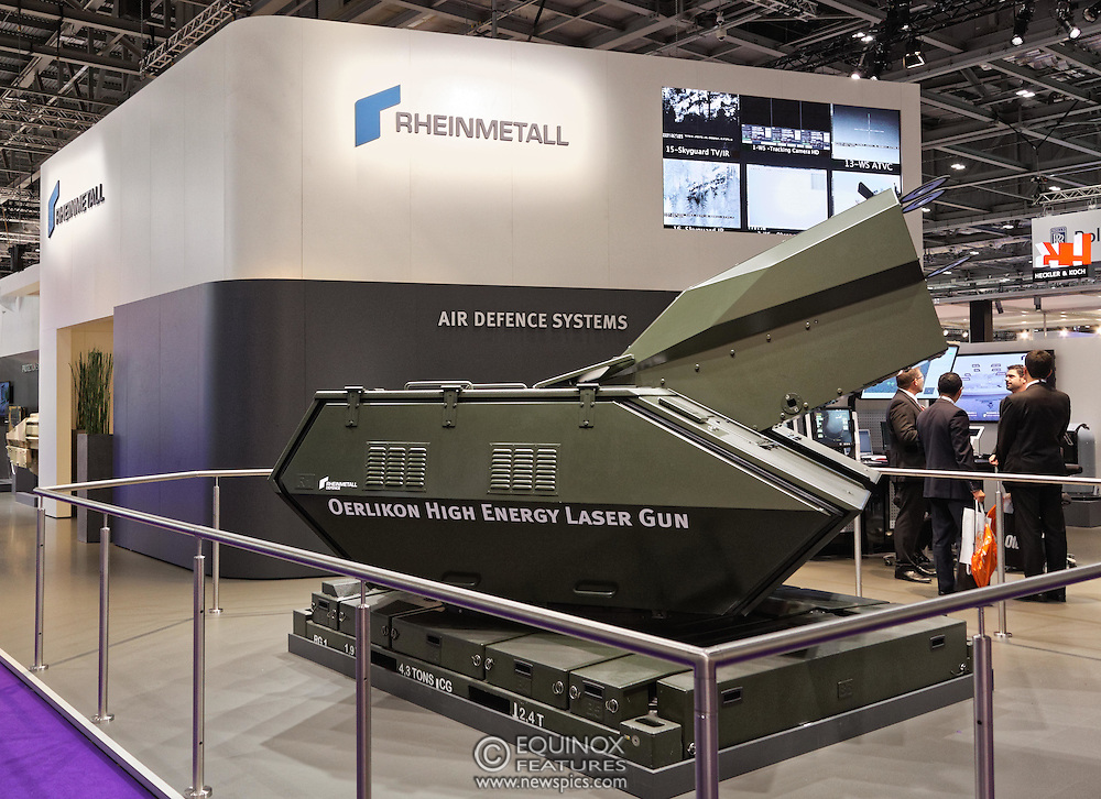 London, United Kingdom - 18 September 2015<br /> Rheinmetall air defence systems Oerlikon High Energy Laser Gun on display at the defence and security exhibition DSEI at ExCeL, Woolwich, London, England, UK.<br /> (photo by: EQUINOXFEATURES.COM)<br /> <br /> Picture Data:<br /> Photographer: Equinox Features<br /> Copyright: &copy;2015 Equinox Licensing Ltd. +448700 780000<br /> Contact: Equinox Features<br /> Date Taken: 20150918<br /> Time Taken: 13445383<br /> www.newspics.com