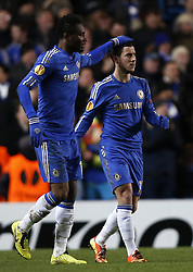21.02.2013, Stamford Bridge, London, ENG, UEFA Europa League, FC Chelsea vs Sparta Prag, 1. Runde, im Bild Eden Hazard(R) of Chelsea celebrates his goal with teammate John Obi Mikel during UEFA Europa League knockout round 1st leg match between Chelsea FC and Sparta Prag at the Stamford Bridge, London, Great Britain on 2013/02/21. EXPA Pictures © 2013, PhotoCredit: EXPA/ Propagandaphoto/ Wang Lili..***** ATTENTION - OUT OF ENG, GBR, UK *****