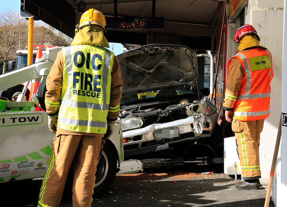 Emergency services responded to a car that mounted the kerb on Jervois Road taking out power connections, Auckland, New Zealand, Friday, August 07, 2015. Credit:SNPA / Hayden Woodward
