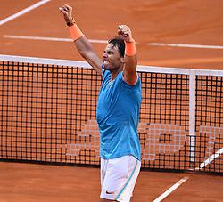 ROME, May 20, 2019  Rafael Nadal of Spain celebrates winning the men's singles final match against Novak Djokovic of Serbia at the Italian Open Tennis tournament in Rome, Italy, May 19, 2019. Rafael Nadal won 2-1. (Credit Image: © Alberto Lingria/Xinhua via ZUMA Wire)