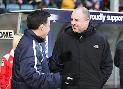 Crawley Town Manager Dean Saunders and Rochdale Manager Keith Hill  - Photo mandatory by-line: Matt McNulty/JMP - Mobile: 07966 386802 - 17.01.2015 - SPORT - Football - Rochdale - Spotland Stadium - Rochdale v Crawley Town - Sky Bet League One