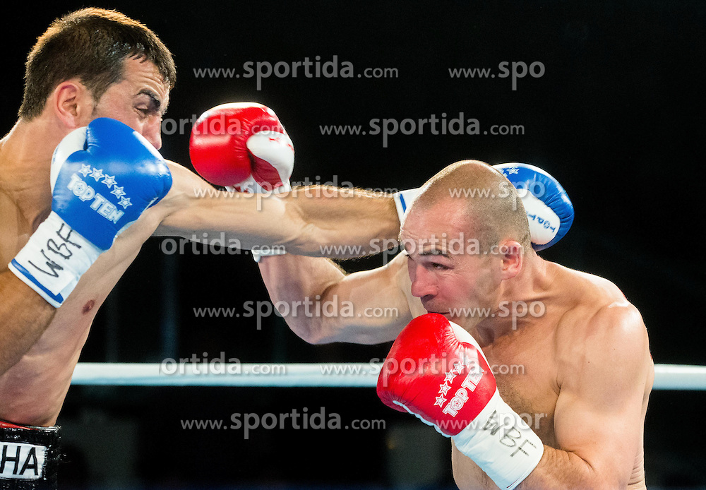 Dejan Zavec alias Jan Zaveck of Slovenia (Red) vs Sasha Yengoyan (Blue) of Belgium at Fight for World WBF Champion during First Class Boxing event, on April 11, 2015 in Arena Tabor, Maribor, Slovenia. Photo by Vid Ponikvar / Sportida