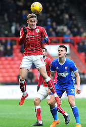 Josh Brownhill of Bristol City heads the highball  - Mandatory by-line: Nizaam Jones/JMP - 17/03/2018 - FOOTBALL - Ashton Gate Stadium- Bristol, England - Bristol City v Ipswich Town - Sky Bet Championship