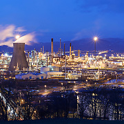 The Grangemouth oil refinery at dusk