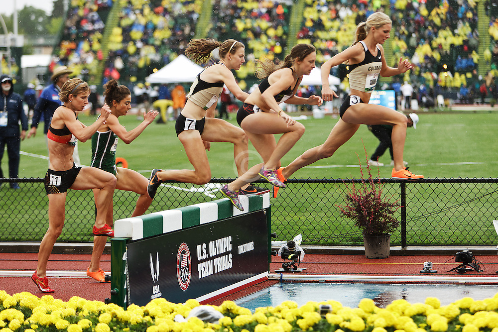 women's 3000 steeplechase Emma Coburn leads pack over water pit