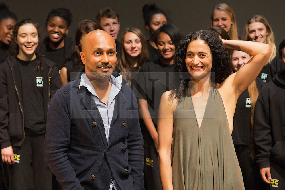 © Licensed to London News Pictures. 2 September 2013. London, England. Picture: Akram Khan and Jasmin Vardimon with members of the NYDC. Akram Khan takes over from Jasmin Vardimon as the next guest artistic director the National Youth Dance Company (NYDC). Photo credit: Bettina Strenske/LNP