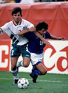 FIFA World Cup - USA 1994<br /> 26.6.1994, Soldier Field Stadium, Chicago, Illinois.<br /> Group D, Bulgaria v Greece.<br /> Emil Kostadinov (Bulgaria) v Savvas Kofidis (Greece).