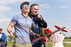Peter Kauzer with Peter Pondlunsek during a home coming parade to celebrate 2nd place at the Red Bull Air Race World Championship 2017 in San Diego (USA) on April 22, 2017 in Murska Sobota, Slovenia. Photo by Mario Horvat / Sportida