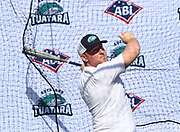 Andrew Marck hits in the batting cage as the new Auckland Tuatara baseball team is announced to play in the Australian Baseball League at the Centre for Conservaion Medicine at Auckland Zoo. 27 August 2018. Copyright Image: Andrew Cornaga / www.photosport.nz